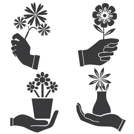 manos agarrando: flores holding mano ilustraci�n
