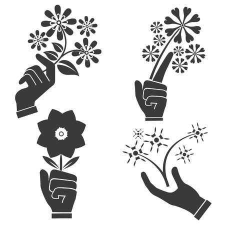 nicety: hand holding flowers Illustration