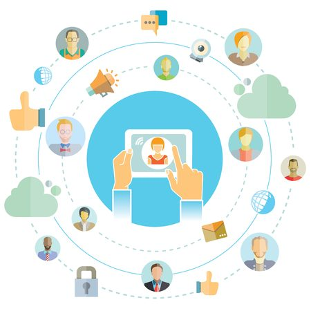 net meeting: social media and network concept illustration
