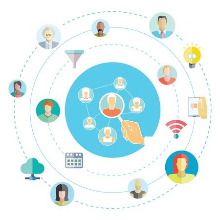 social media, network illustration  向量圖像
