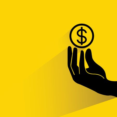 investment concept: hand holding dollar coin