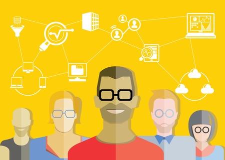 geek: t�cnico de la red y el an�lisis de datos del equipo