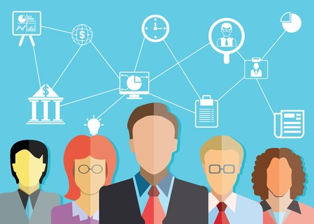 smart investing: teamwork, financial consultant and business management concept Illustration