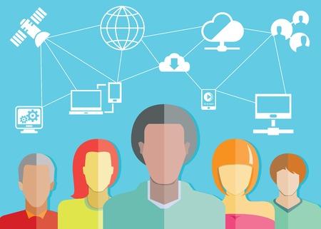 sattelite: social network and communication concept Illustration