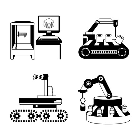 production line: industrial robot and production line icons