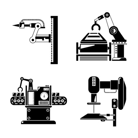 machine operator: industrial robot and production line icons