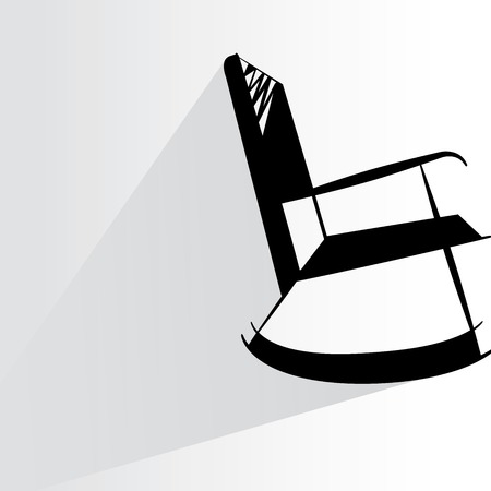 chair wooden: rocking chair on white Illustration