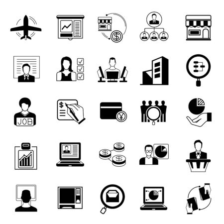 firm: business solution icons, business management icons Illustration