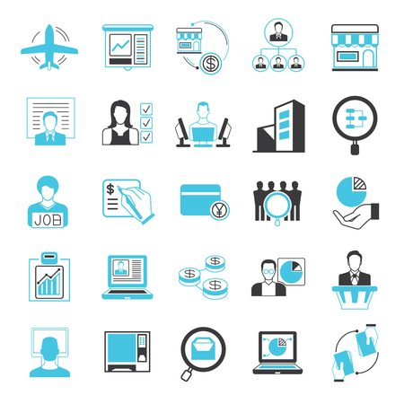 administrative buildings: business solution icons, business management icons, blue theme Illustration
