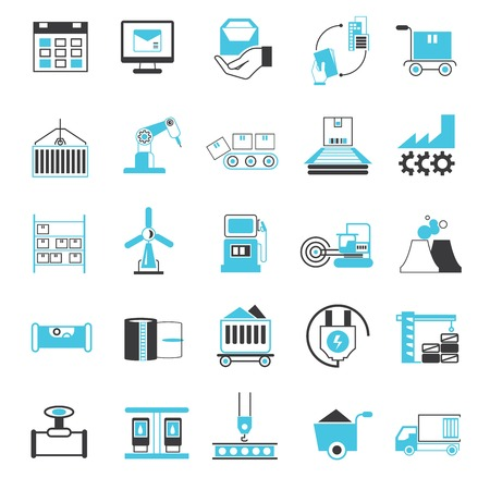 industry icons, business management icons, blue theme