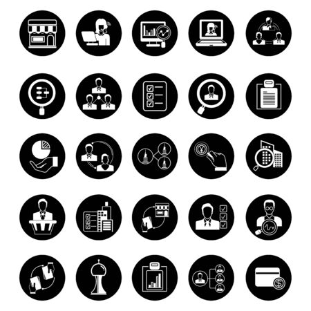 firms: business solution icons, business management icons, circle buttons Illustration