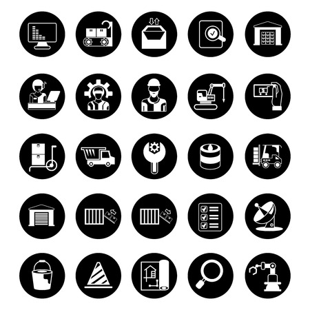 industry icons, business management icons, circle buttons