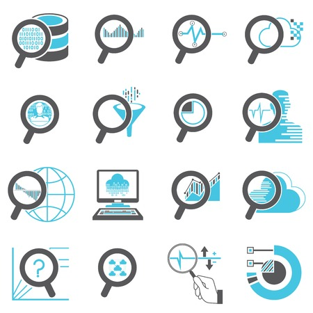 estimation: magnifier glass icons, data analytics icons