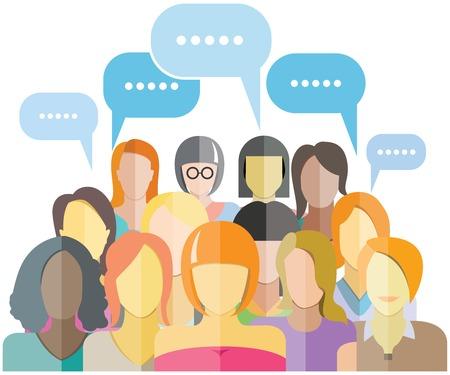 女性グループの人々 グループ ソーシャル ネットワーク  イラスト・ベクター素材