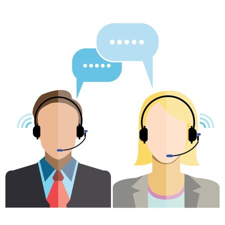 man customer support: man and woman customer support