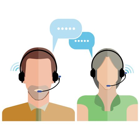 call center office: man and woman customer support