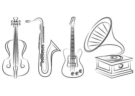 dibujos lineales: instrumentos musicales de jazz