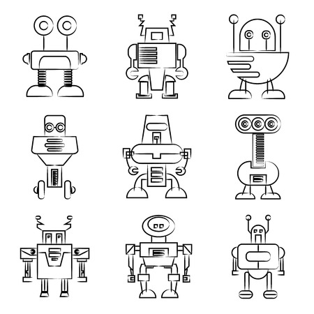 hand drawn robot icons Vector