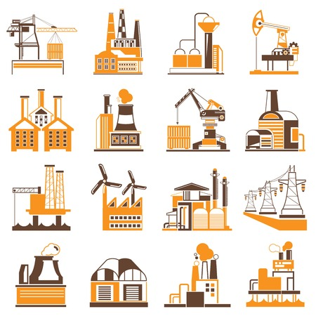 petrochemicals: industrial building icons factory