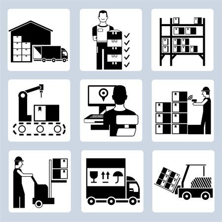 inventario: iconos de gestión de almacenes