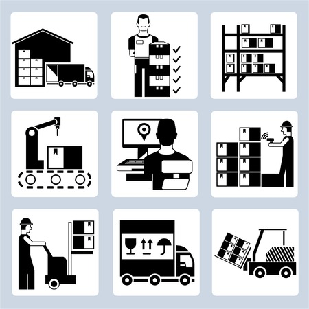 inventories: warehouse management icons