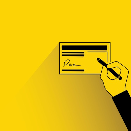 chequebook: hand sign on cheque Illustration