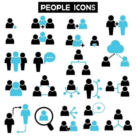 red de personas: personas iconos Vectores