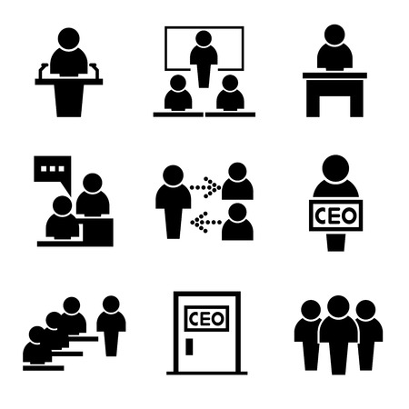 business management iconen mensen iconen Stock Illustratie