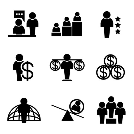 dealings: business management icons people icons