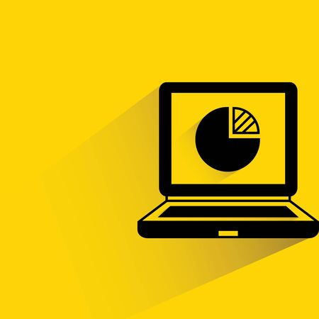 laptop and pie chart Vector
