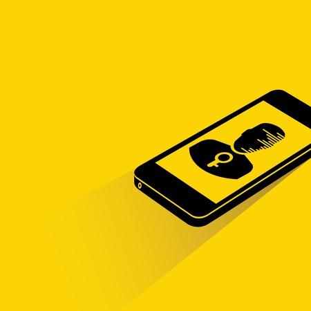 elementos de protecci�n personal: tel�fono inteligente de privacidad de datos Vectores
