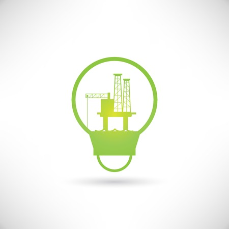 oil platform in light bulb Vector