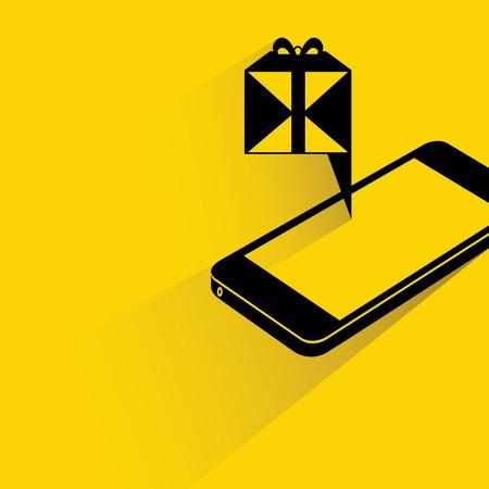 phone box: gift box on smart phone