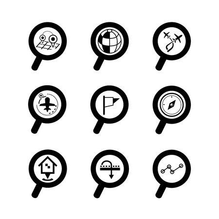 zeměpisný: geografické ikony vyhledávač Ilustrace