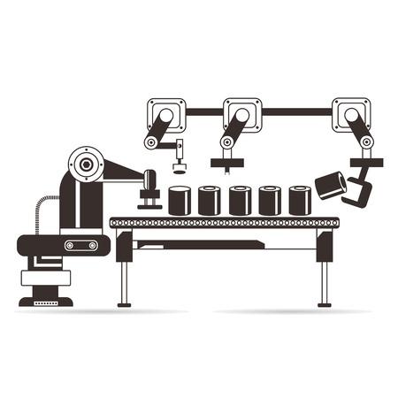 fila de personas: línea de producción concepto de fabricación Vectores