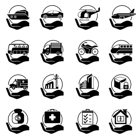 insurance hand icons Vectores