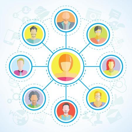 red de personas: gente de la red red social Vectores