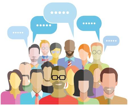 emberek: emberek csoport közösség szociális háló Illusztráció