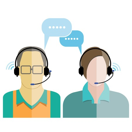 support agent: customer support phone assistance Illustration