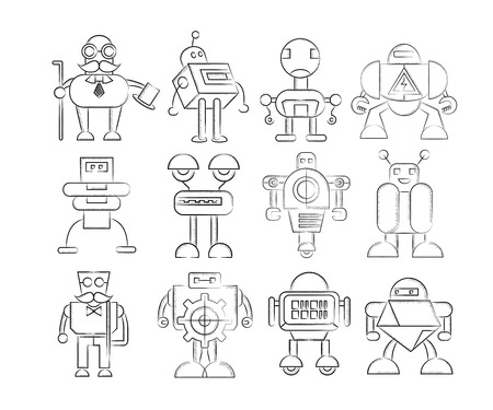 cute robot icons Vector