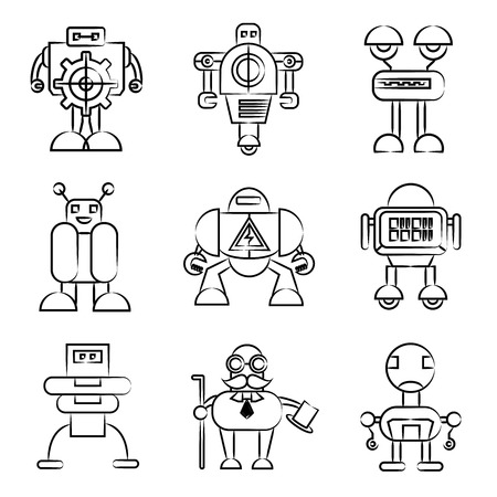 robot icons drawing line Vector