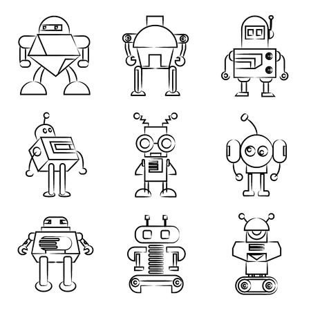 robot icons drawing line