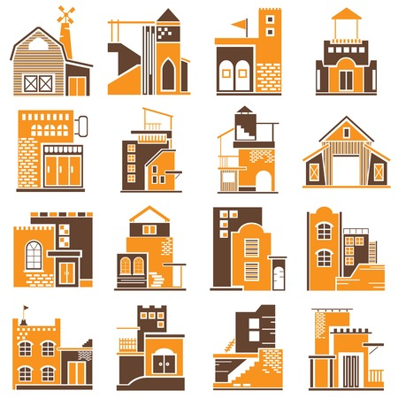 formatting: building icons orange theme Illustration