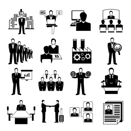 business management icons Ilustracja