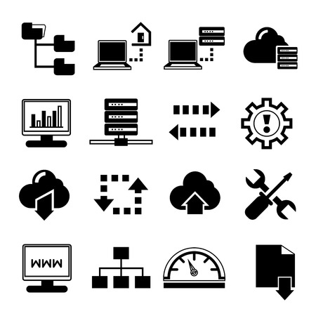 datacenter: network icons hosting icons Illustration