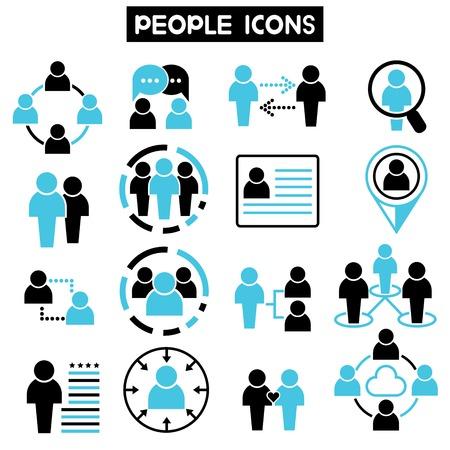 La gente iconos tema azul Foto de archivo - 39335993