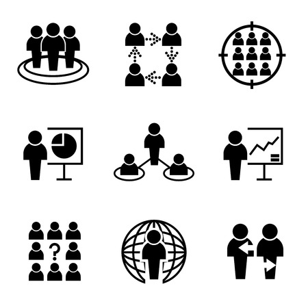 dealings: human resource business management icons Illustration