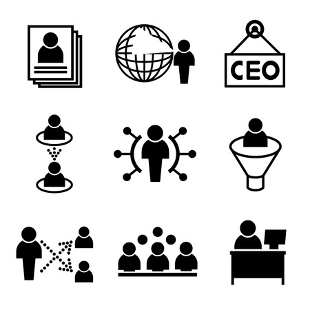 business roles: human resource business management icons Illustration