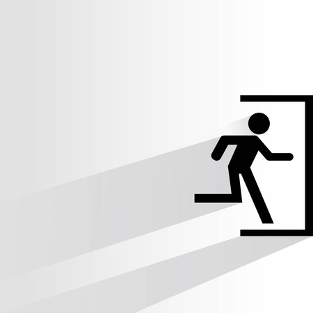 emergency exit sign icon: exit sign