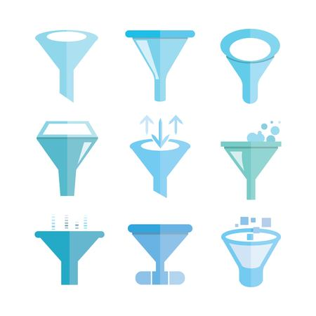pouring water: funnel icons